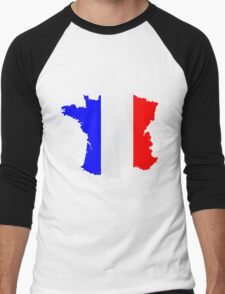 France Flag and  Map Men's Baseball ¾ T-Shirt