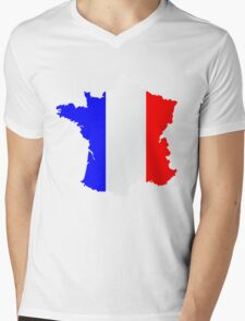 France Flag and  Map Mens V-Neck T-Shirt