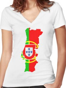 Portugal Flag and Map Women's Fitted V-Neck T-Shirt
