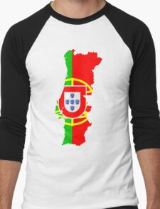 Portugal Flag and Map Men's Baseball ¾ T-Shirt