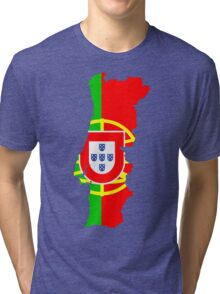 Portugal Flag and Map Tri-blend T-Shirt