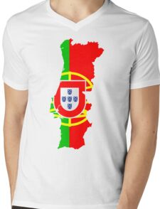 Portugal Flag and Map Mens V-Neck T-Shirt