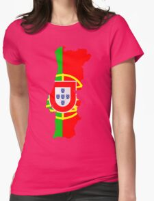 Portugal Flag and Map Womens Fitted T-Shirt