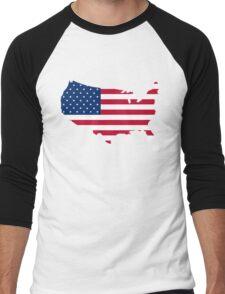 United States Flag and Map Men's Baseball ¾ T-Shirt
