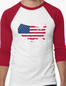 United States Flag and Map Men's Baseball ¾ T-Shirt