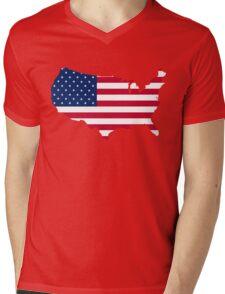 United States Flag and Map Mens V-Neck T-Shirt