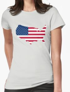 United States Flag and Map Womens Fitted T-Shirt