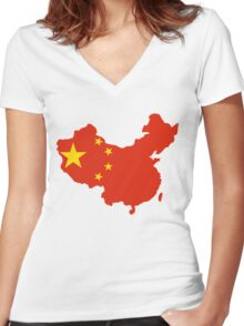 China Flag and Map Women's Fitted V-Neck T-Shirt