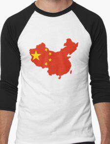 China Flag and Map Men's Baseball ¾ T-Shirt