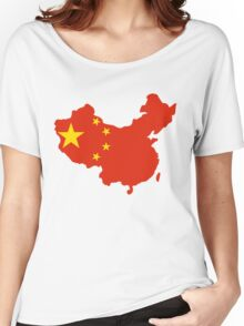 China Flag and Map Women's Relaxed Fit T-Shirt