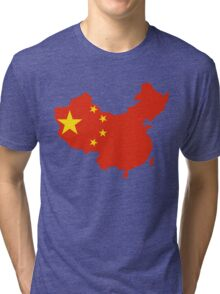 China Flag and Map Tri-blend T-Shirt