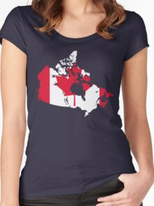 Canada Flag and Map Women's Fitted Scoop T-Shirt