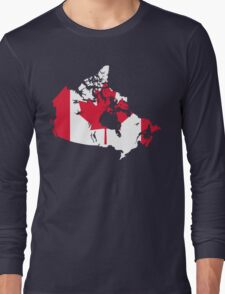 Canada Flag and Map Long Sleeve T-Shirt