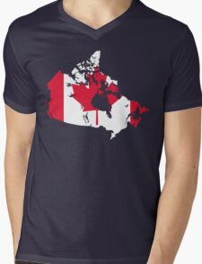 Canada Flag and Map Mens V-Neck T-Shirt