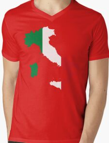 Italy Flag and Map Mens V-Neck T-Shirt