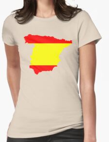 Spain Flag and Map Womens Fitted T-Shirt