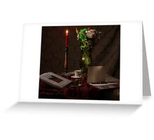 Red Candle and Christmas Cards Greeting Card