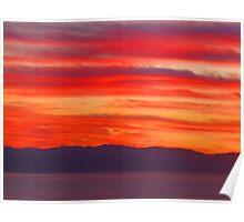 Red Sunset - Puesta del Sol en Rojo/SierraMadre y Bahía de Banderas Poster