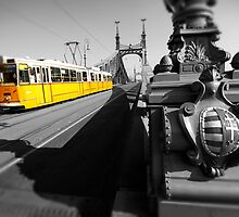 Yellow Tram On Freedom Bridge - Budapest by Paul Williams