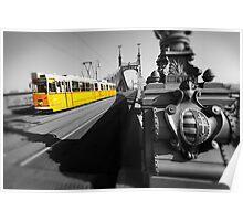 Yellow Tram On Freedom Bridge - Budapest Poster