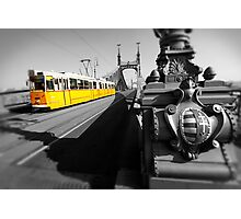 Yellow Tram On Freedom Bridge - Budapest Photographic Print