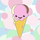 Cute Kawaii Neapolitan Ice Cream Cone by ArtformDesigns