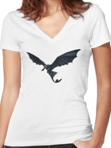 How To Train Your Dragon Toothless Design Women's Fitted V-Neck T-Shirt