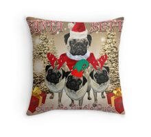 Santa Betty & The Jingle Pugs! Throw Pillow