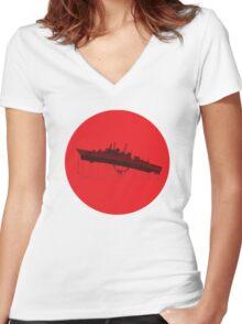 Neon Genesis Evangelion - EVA Unit 02 (Boat Lift) Women's Fitted V-Neck T-Shirt