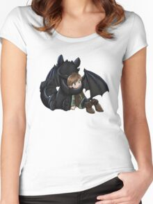 How To Train Your Dragon Manga Design Women's Fitted Scoop T-Shirt