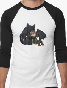 How To Train Your Dragon Manga Design Men's Baseball ¾ T-Shirt