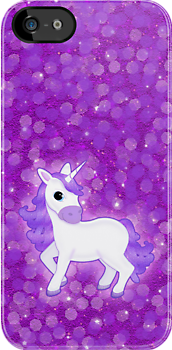 Cute Purple Cartoon Unicorn on Glitter Background by ArtformDesigns