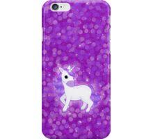 Cute Purple Cartoon Unicorn on Glitter Background iPhone Case/Skin