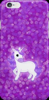 Cute Purple Cartoon Unicorn on Glitter Background by ArtformDesigns