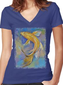 Orenji Butterfly Koi Women's Fitted V-Neck T-Shirt