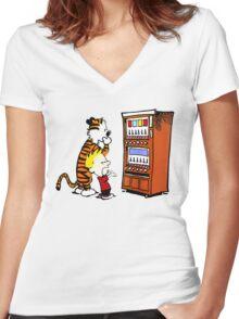 Calvin Hobbes Vending Machine Women's Fitted V-Neck T-Shirt