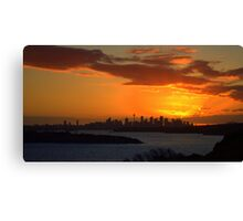 north head manly - fire in the sky Canvas Print