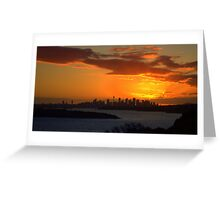 north head manly - fire in the sky Greeting Card