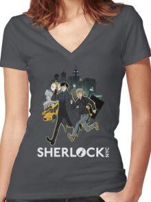 Sherlock NYC - Day (White Logo) Women's Fitted V-Neck T-Shirt