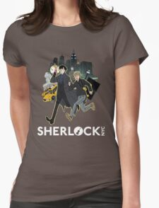 Sherlock NYC - Day (White Logo) Womens Fitted T-Shirt