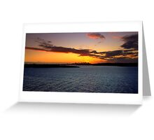 north head manly - sunset in the distance Greeting Card