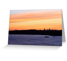 north head manly - Harbour Bridge in the sunset Greeting Card