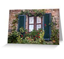 Geranium Window And Shutters Greeting Card
