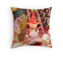 Busy Little Elves Throw Pillow
