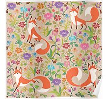 Flower Foxes Poster