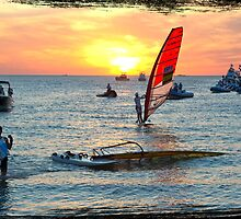 Sailboarders at sunset by Darren Speedie