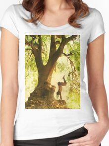 Handstand by the tree tshirt Women's Fitted Scoop T-Shirt