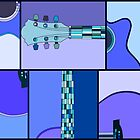 Modern Pop Art Acoustic Guitar in Blues by ArtformDesigns