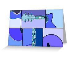 Modern Pop Art Acoustic Guitar in Blues Greeting Card