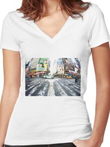 Yoga in Times Square, New York Women's Fitted V-Neck T-Shirt